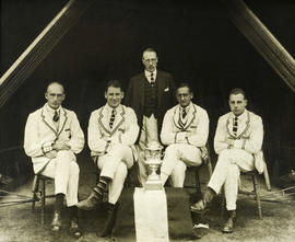 TRC crew in the Wyfold Challenge Cup 1927 posing with trophy