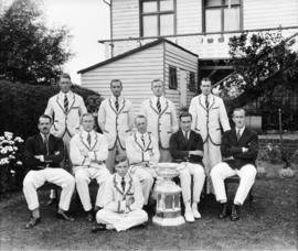 TRC crew in the Grand Challenge Cup 1928 posing with trophy