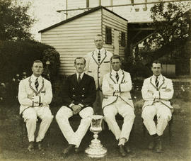 TRC crew in the Stewards' Challenge Cup 1927 posing with trophy