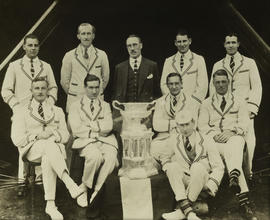 TRC crew in the Grand Challenge Cup 1927 posing with trophy