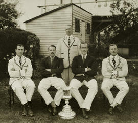 TRC crew in the Stewards' Challenge Cup 1928 posing with trophy