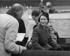 Princess Elizabeth and others on board Enchantress, watching the start of the Head of the River Race
