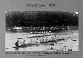 Marlow 1928 - TRC junior eight beating Anglian and Bedford Modern in heat