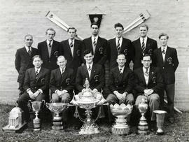 TRC crew in the Grand Challenge Cup 1954 posing with trophies