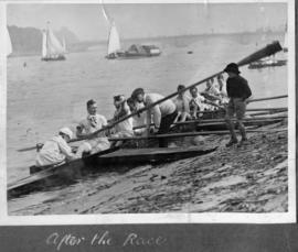 TRC Regatta 1922 - winning crew of club eights, after the race