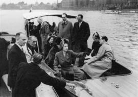 Princess Elizabeth and others on board Enchantress, alongside another day launch