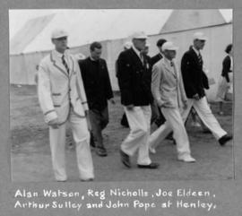 Alan Watson, Reg Nicholls, Joe Eldeen, Arthur Sulley and John Pope at Henley