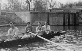 Coxless four in training
