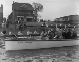 Princess Elizabeth and others on board Enchantress, alongside the Polytechnic boathouse