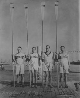 Great Britain Coxless Four at 1932 Olympic Games posing with blades