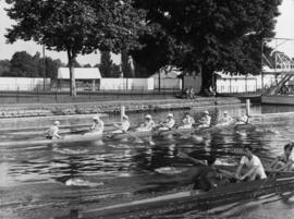 Eight training on the Henley course, thought to be 1949 Thames Cup VIII