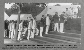 Henley 1928 - Prince George presenting Grand Challenge Cup and medals
