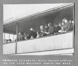 Princess Elizabeth with James Hartley on the balcony during the race