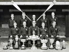 TRC crew in the Grand Challenge Cup 1959 posing with trophies
