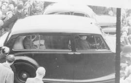 Princess Elizabeth leaves the TRC clubhouse in a chauffer driven car