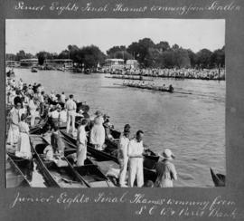 Molesey 1921 - junior eights final, Thames winning from L C W & Parr's Bank