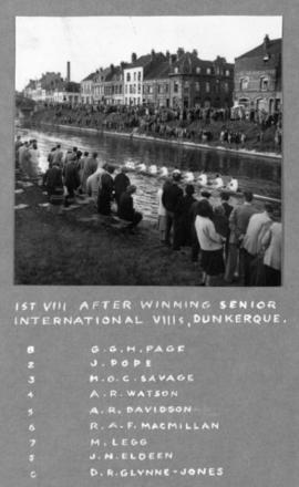 1st VIII after winning Senior International VIIIs, Dunkerque
