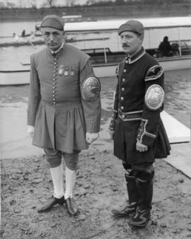 Bert Barry, and another liveried oarsman, during Princess Elizabeth's visit