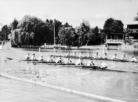 Henley 1954 - TRC crews in the Grand and Thames Cup training at Henley