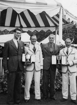 The dead-heating crews in the Centenary Double Sculls